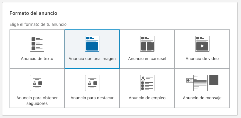 formato de anuncio con una imagen en LinkedIn