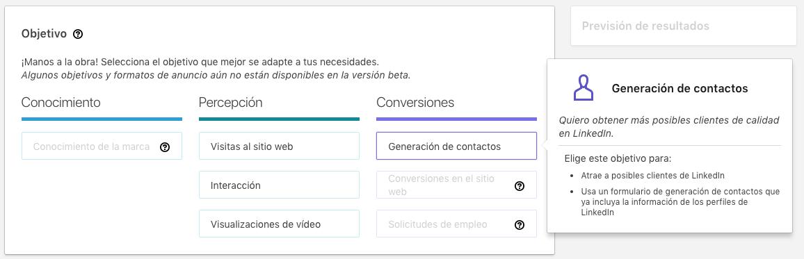 seleccion de objetivo tipo conversiones en linkedin