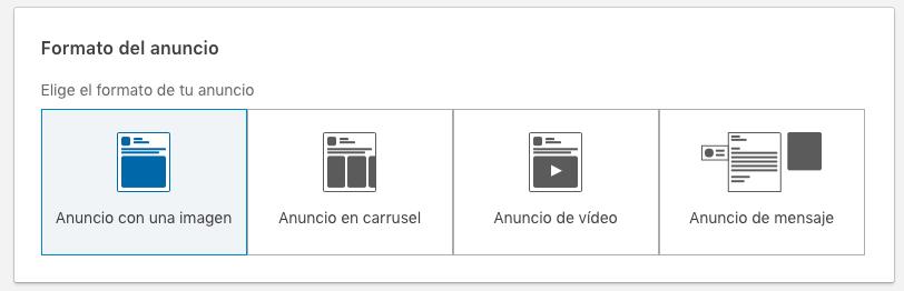 seleccion formato de anuncio con una imagen con lead gen form en LinkedIn