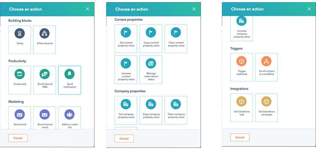 acciones disponibles en los workflows de HubSpot