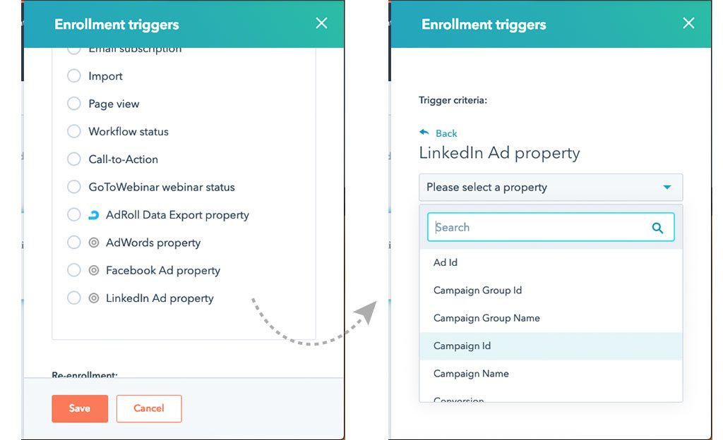 advertisement enrollment triggers in HubSpot for workflows