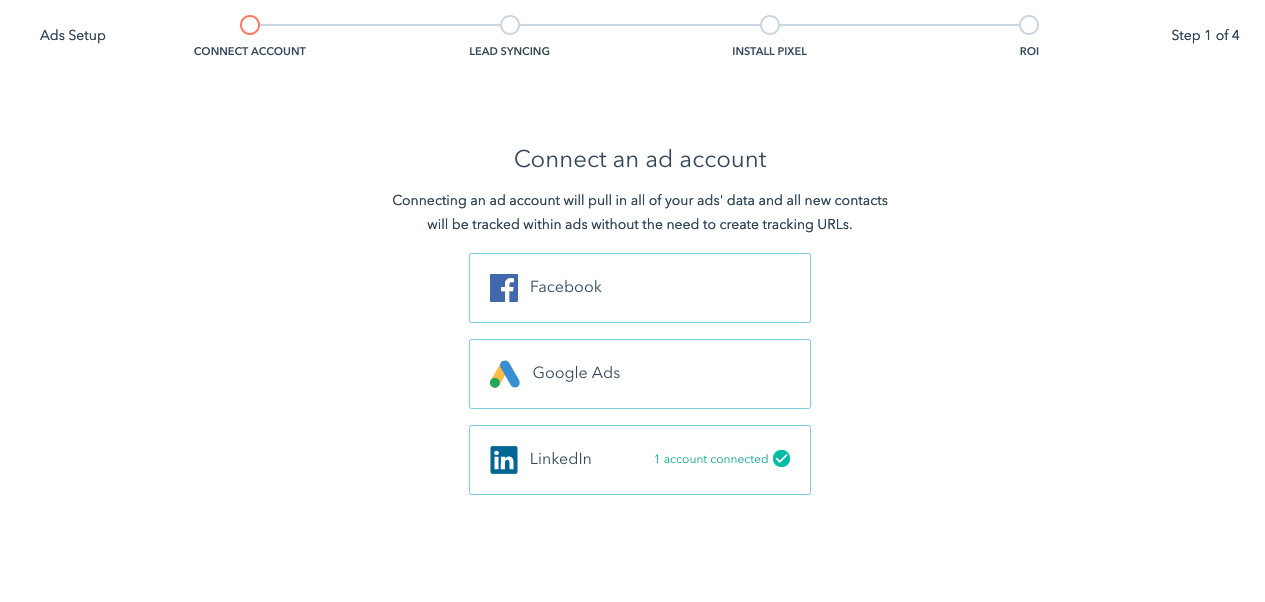 conexion cuenta Linkedin Ads en Hubspot