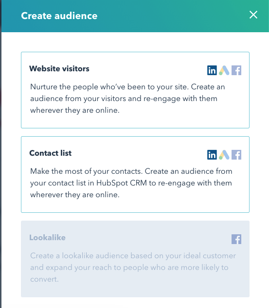 create audience hubspot linkedin