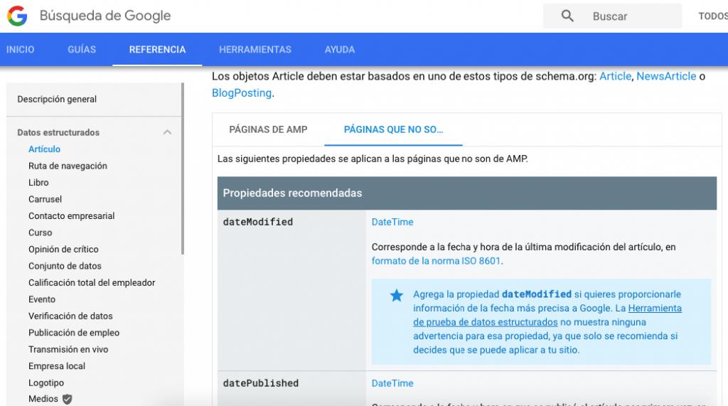 datos estructurados blog post segun Google