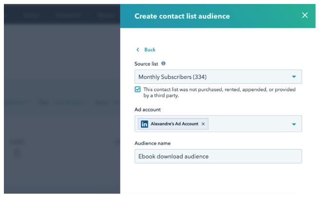 integracion hubspot linkedin ads - comparticion de listas inteligentes