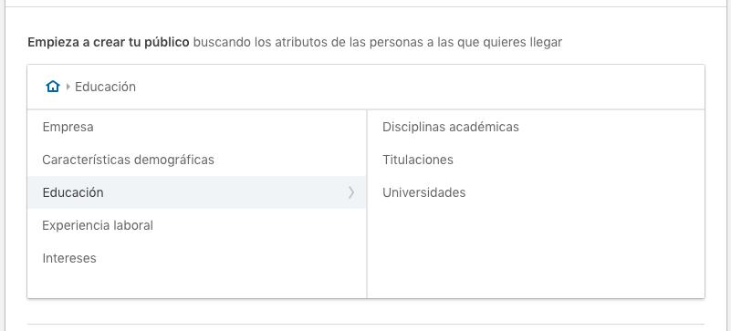 Segmentacion por Educación en Linkedin