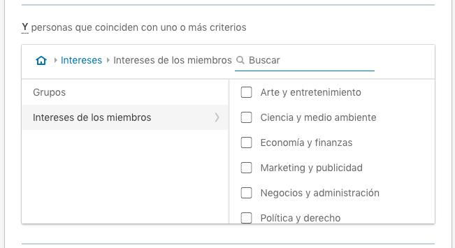 Segmentacion por intereses en LinkedIn