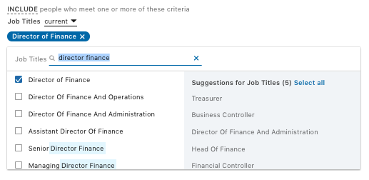 Targeting by job title in Linkedin