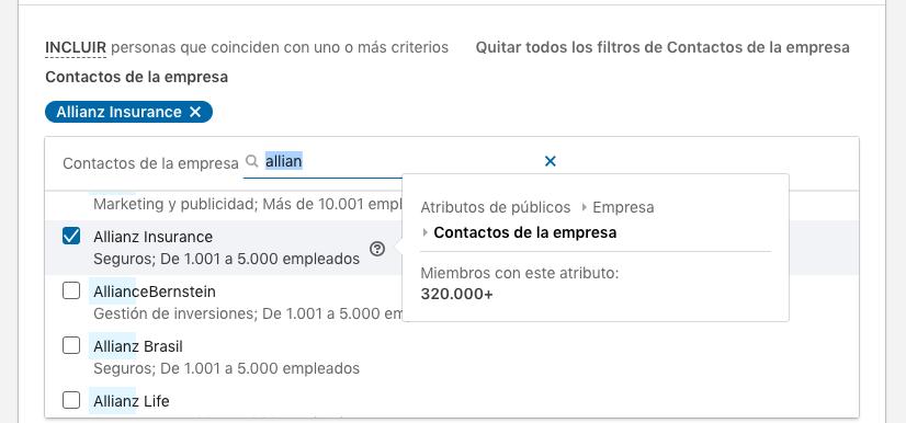 ejemplo segmentar por contactos para empresa Allianz Insurance