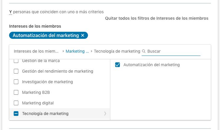 interes en automatizacion del marketing en Linkedin