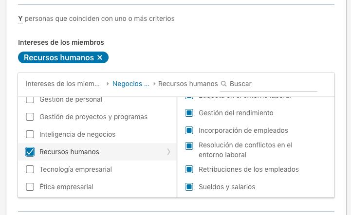 intereses relacionados con recursos humanos en Linkedin