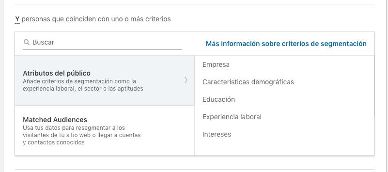 listado criterios segmentacion LinkedIn
