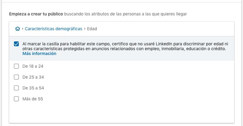segmentacion para edad en LinkedIn