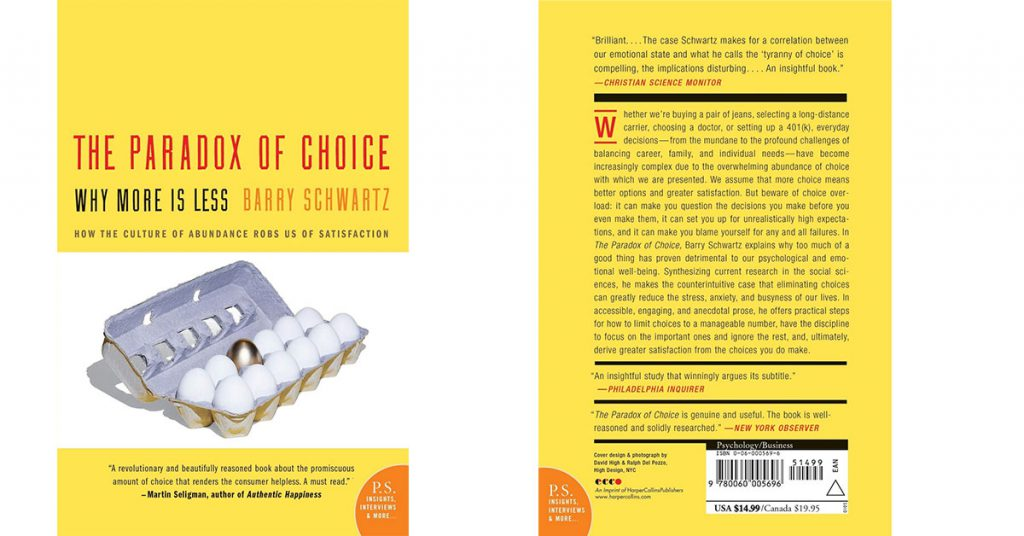 The Paradox of Choice de Barry Schwartz cover book