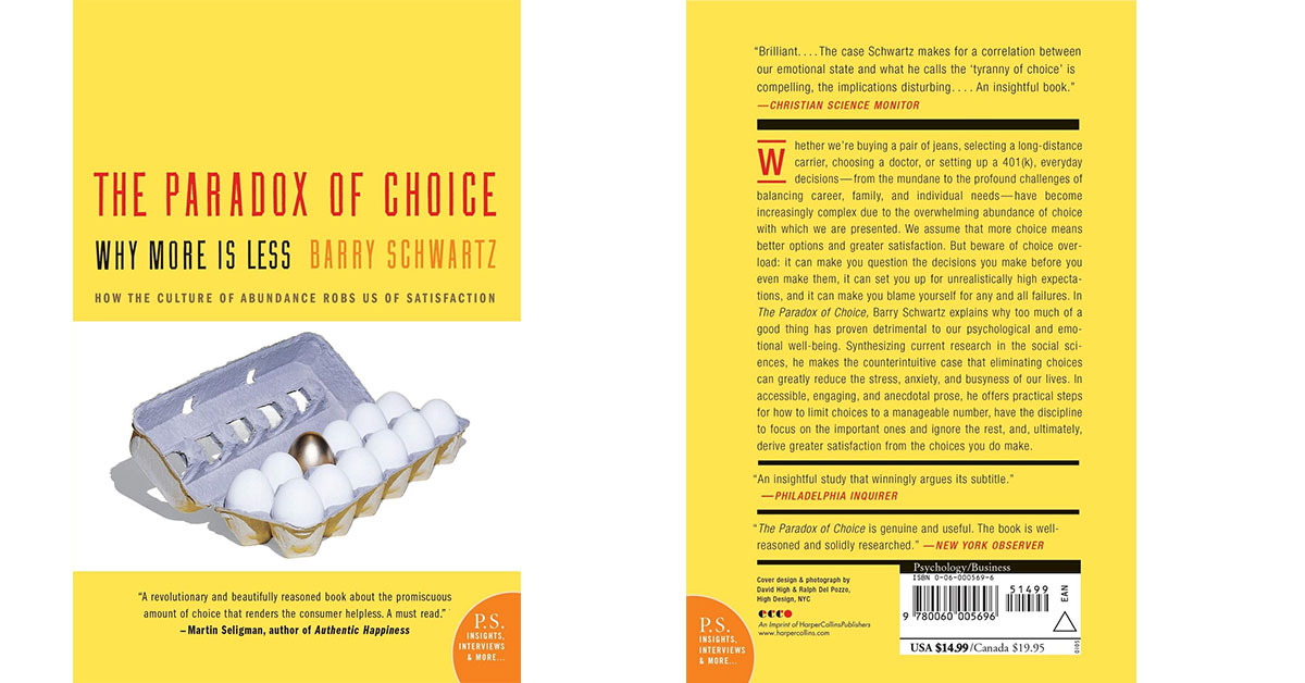 The Paradox of Choice de Barry Schwartz cover book