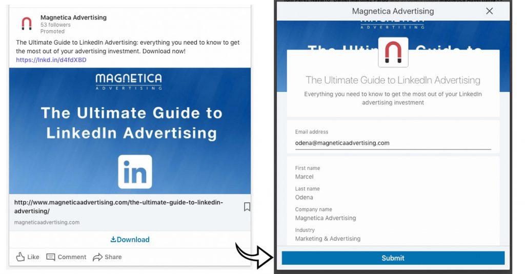 Anuncio de imagen de contenido patrocinado con Formulario Nativo en LinkedIn