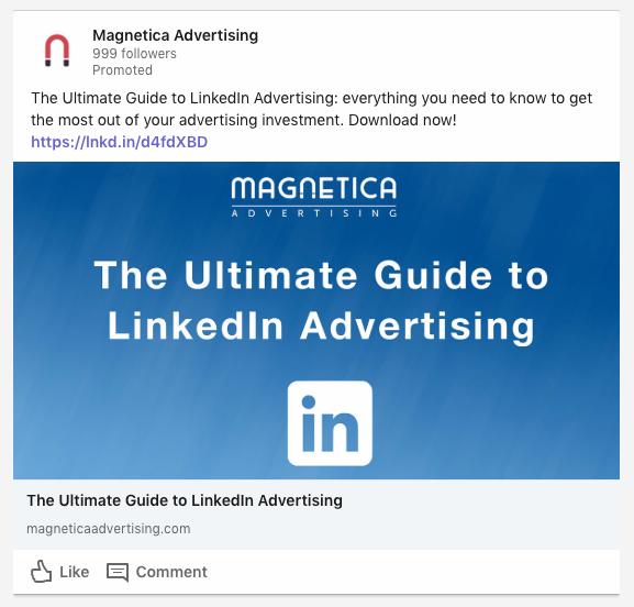 Ejemplo de anuncio de imagen de contenido patrocinado en LinkedIn