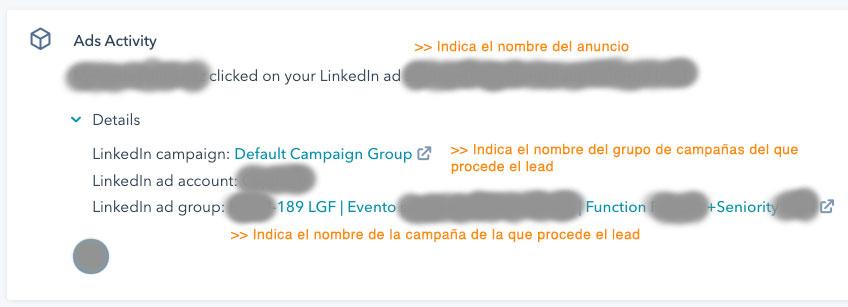 Atribución de campaña de Linkedin en módulo de Ads Activity en HubSpot
