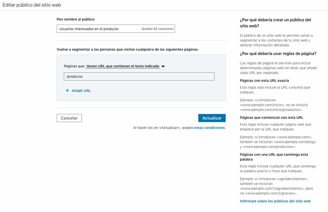 Configuracion lista de remarketing en LinkedIn