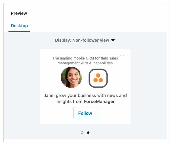 Ejemplo de Anuncio Dinamico para obtener seguidores en LinkedIn