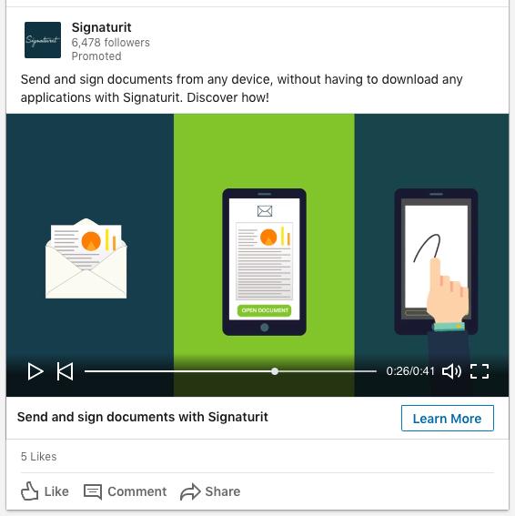 Ejemplo de Anuncio de Video en LinkedIn