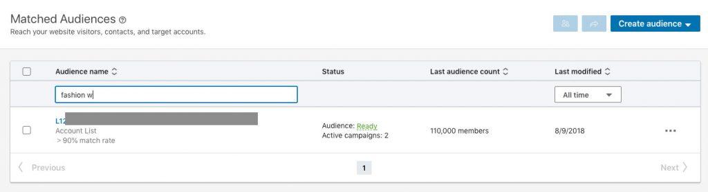 Segmentacion en base Listado de empresas cargado en LinkedIn