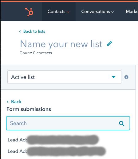 Visualizacion Formularios Lead Gen Form LinkedIn en Smartlist de HubSpot
