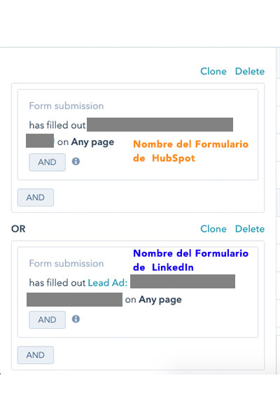 modificacion smartlist hubspot para incluir formulario lead gen form de Linkedin
