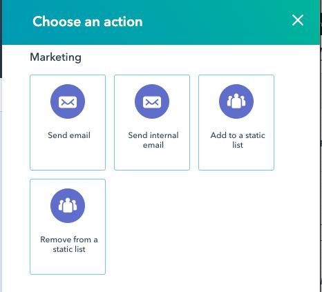 opcion enviar email interno en workflow de Hubspot