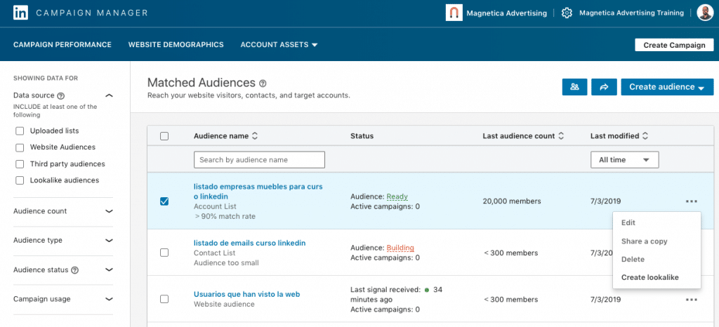 Creacion de una audiencia similar en LinkedIn (create lookalike)