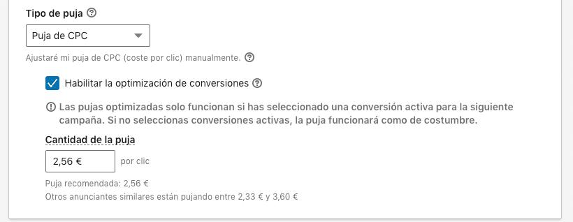 Opción de puja con optimización de conversiones en LinkedIn