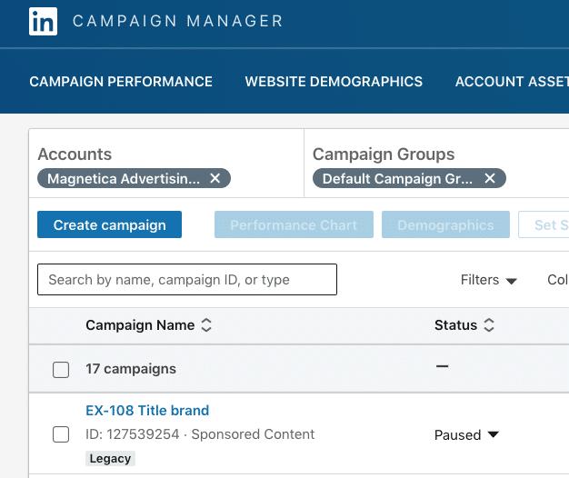 "Etiqueta ""Legacy"" en campaña de Linkedin anterior a la actualización"