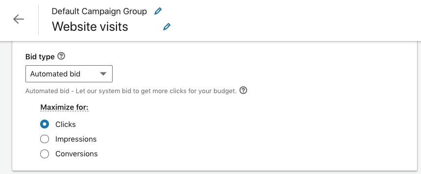 Opciones de puja en una campaña con objetivo visitas web ANTES de la actualización en Linkedin (para tipo anuncio imagen)