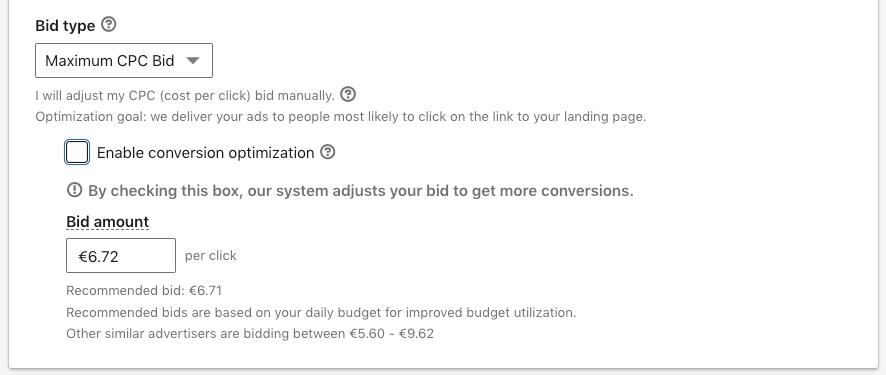 Maximum CPC bid on a Linkedin conversion campaign