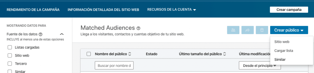 Opcion para crear un público similar en LinkedIn - Magnetica Advertising