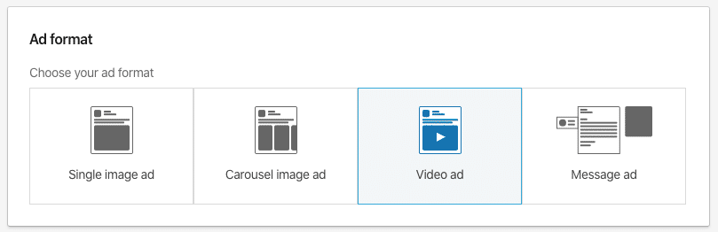 Ad formats available for Lead Generation Objective on Linkedin Campaign Manager