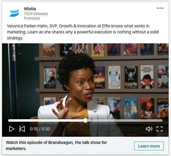 LinkedIn Video Ad Example