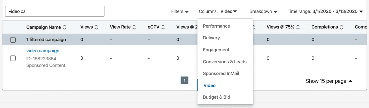 Selecting Video Metrics in LinkedIn Campaign Manager