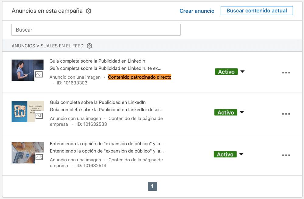 Clasificacion de anuncios dentro del administrador de campañas de LinkedIn