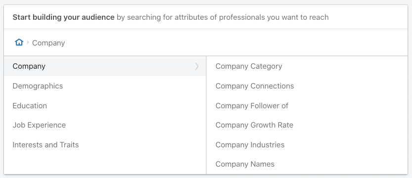 Company Targeting Options on LinkedIn Campaign Manager