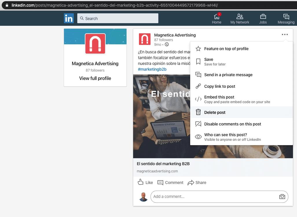 Opción Eliminar Publicación en LinkedIn