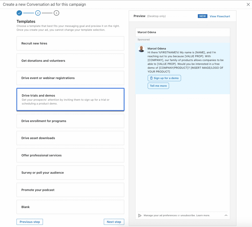 InMail Conversation Ad Templates on LinkedIn Campaign Manager