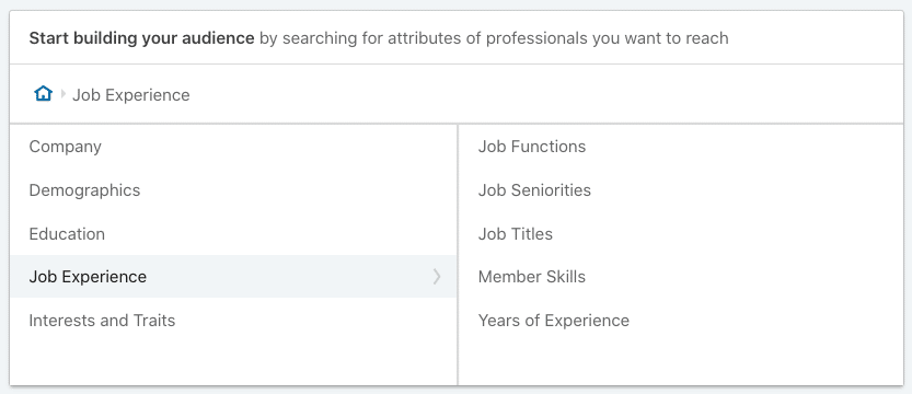 Job Experience Targeting Options on LinkedIn Campaign Manager