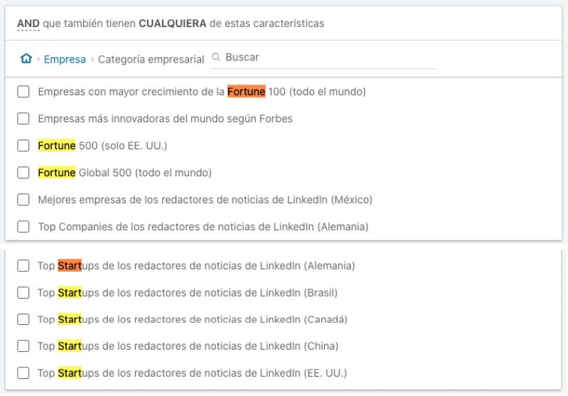 Listado de categorías empresariales dentro de segmentar por empresa en LinkedIn