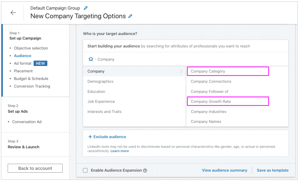 New Company Targeting Options in LinkedIn Campaign Manager