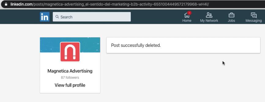Mensaje de confirmación de anuncio eliminado