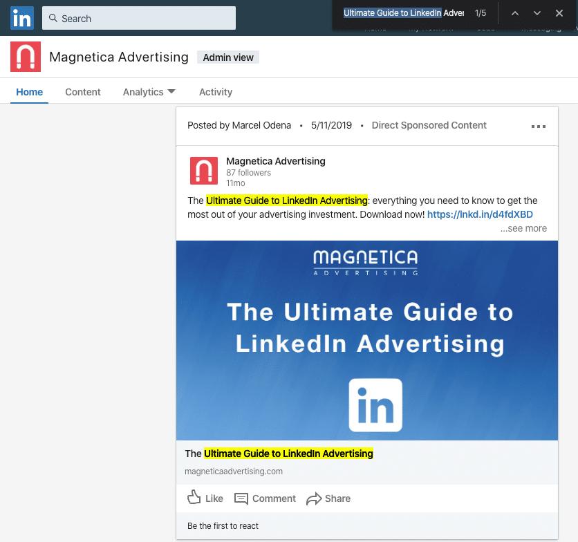 Buscar un anuncio dentro de la página de empresa de Linkedin