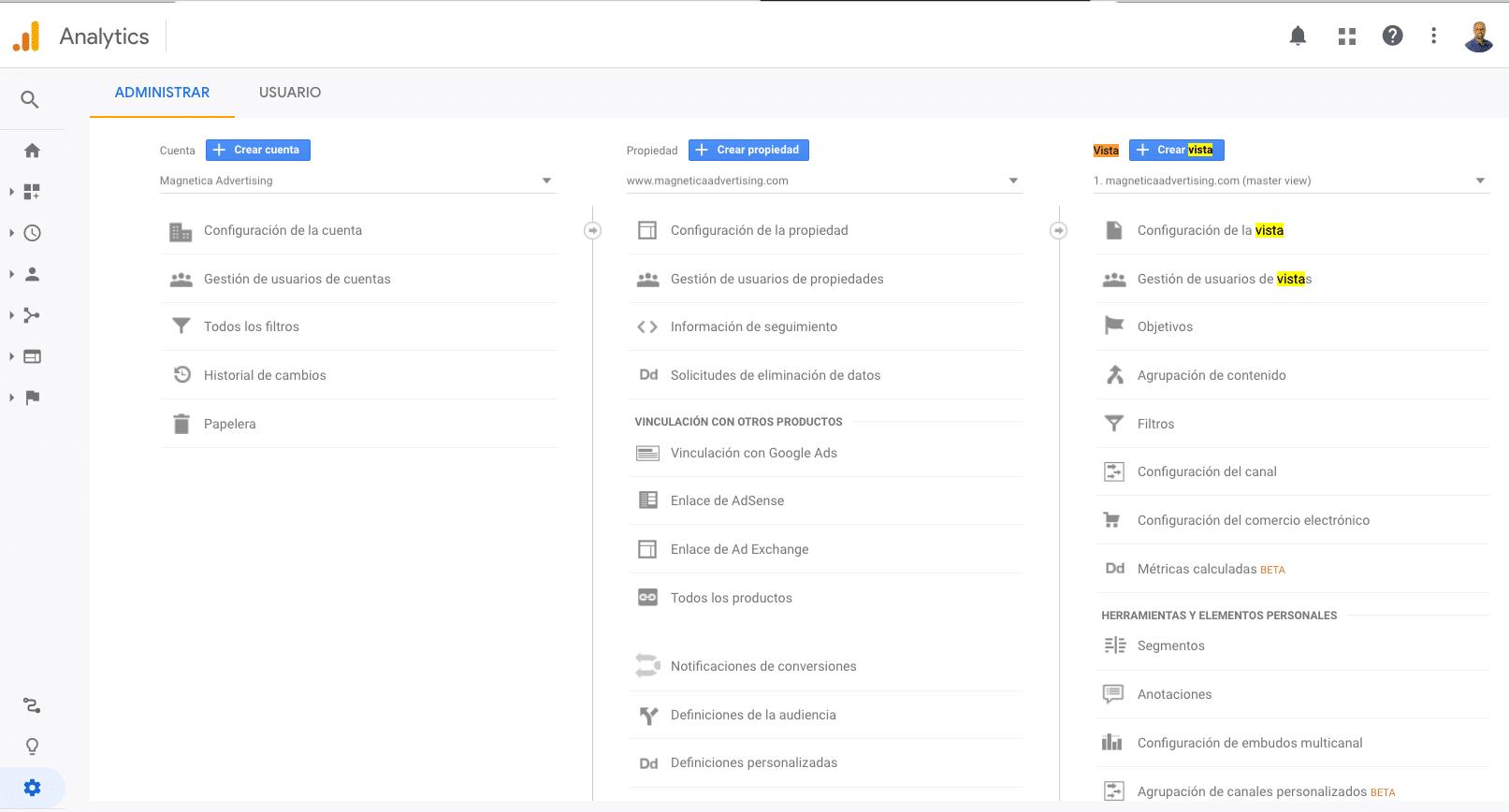 Configuración de objetivos a nivel de vista en Google Analytics