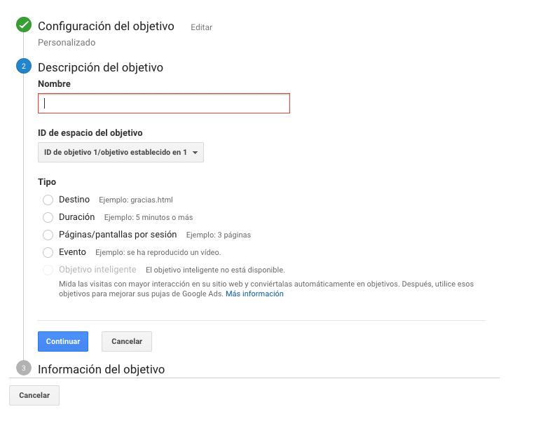Opción nuevo objetivo para crear un objetivo en Google Analytics