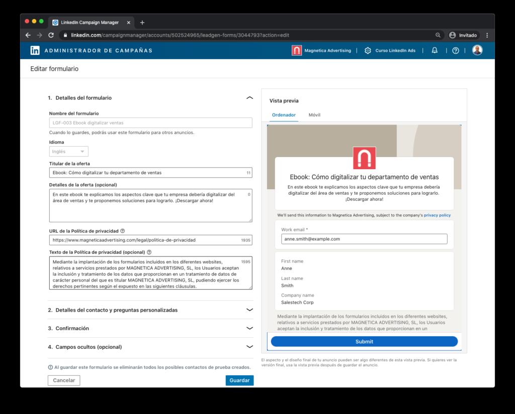 LinkedIn Ads Novedades Septiembre: Campos del formulario de generacion de contactos en Linkedin ya editables